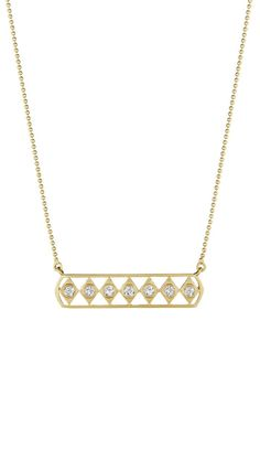 Doryn Wallach bar necklaces in yellow gold with diamonds.
