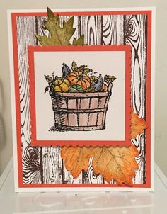 Basket of wishes, vintage leaves and hardwood stamps were used in this fall…