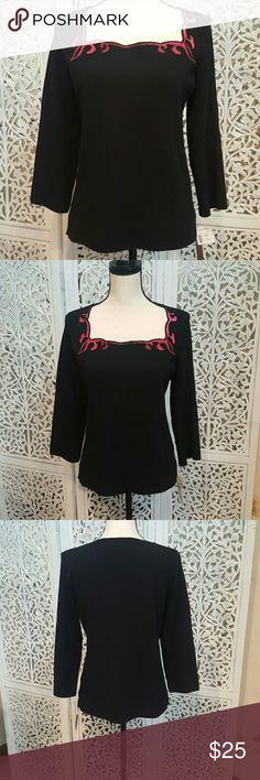 Dana Buchman Blouse Black Dana Buchman square neck blouse. Neckline has colors of red, pink, and orange. Very pretty. Dana Buchman Tops Blouses