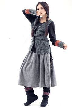 patchwork winter skirt and vest