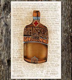 The Many Good Reasons to Drink Whiskey Art Print   Art Prints   Sarah Watts