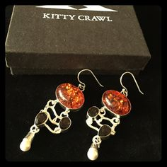 Kitty Crawl VINTAGE Genuine Amber & Smokey Topaz with Culture Pearl Accent in Sterling Silver. Vintage Find in Key West, FL about 5 years ago. ✨Never Worn✨#149 Jewelry Earrings