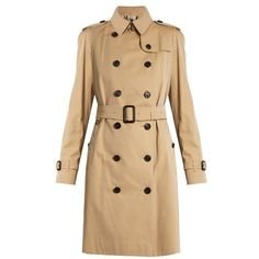 Burberry Westminster long-length gabardine trench coat found on Polyvore featuring outerwear, coats, tan, tan trench coat, burberry, double breasted coat, long trench coats and long tan coat