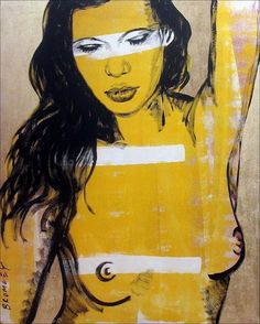 "DAVID BROMLEY Nude ""Laura"" Polymer & Gold Leaf on Canvas 150cm x 120cm"