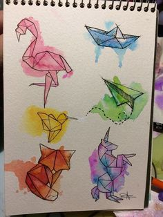 Captivating Drawing On Creativity Ideas Drawing Doodles Sketches Animals plane and watercolor boat ✈️⛵ This image has get. Art And Illustration, Origami Tattoo, Inspiration Art, Art Inspo, Doodle Art, Bird Doodle, Art Du Croquis, Cute Drawings, Watercolor Paintings