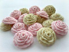 Sugar Flower Fondant Gumpaste Rose Edible Topper Cake Cupcake Spring Wedding Candy Favor Box Ivory Pink Baby Shower Flower Topper - set 36