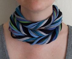 Fabric Necklace - Blues and Greens Necklace -Extra Long Necklace - Eco Friendly - T-Shirt Jewelry. $25.00, via Etsy.