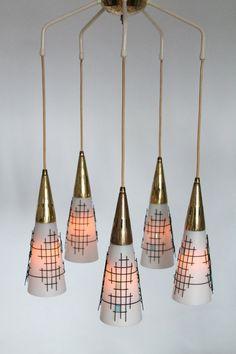 5 ARM PENDANT glass  wire mesh brass  mid century vintage  1960 era in the style of Stilnovo,Moe lighting