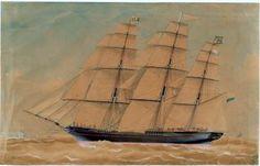 Het klipperfregatschip 'Ternate' onder zeil, onder commando van Kapt. F. Cars. [...],  Spin, Jacob, 1855   Het Scheepvaartmuseum