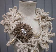 Feuille large écharpe blanche longue écharpe neckwarmer par deniz03