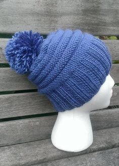 678c77f4d22 Blue Hat   Blue slouchy hat   Blue knit hat   Winter beanie   Pom pom hat  in blue   Winter blue hat   Blue beanie   Knit slouchy beanie