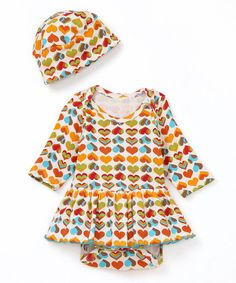Take a look at this Hippie Hearts Organic Skirted Bodysuit & Beanie - Infant on zulily today!