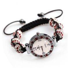 Gorgeous red and white  shamballa watch.  Shamballa jewelry are one of the hottest jewelry now! This shamballa watch features sparkling red and white crystal and is adjustable to fit almost any hand.  Perfect gift for anyone. Free jewelry box included!
