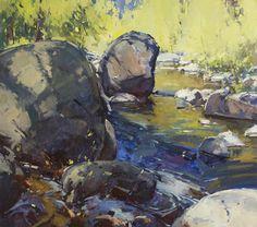 Boulder Hopping by Jill Carver Oil ~ 34 x 36