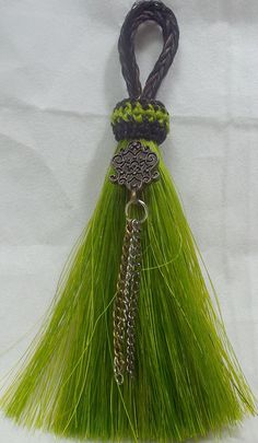 horse hair tassel Vivid lime green real horse hair by Knotatail  The tassel is from http://knot-a-tail.com/catalog/16  #horsehair tassels