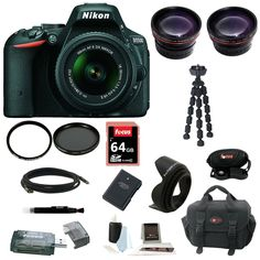 Nikon D5500 24.2 MP SLR Camera Bundle with 18-55mm VR Wide Tele Lens and Accessory Kit, Black. 24.2 MP DX-format CMOS sensor with no optical low-pass filter (OLPF) & 39-point Autofocus (AF) system. 5 frames per second continuous shooting & ISO 100 - 25,600. High resolution, vari-angle LCD with familiar, smartphone-like touchscreen for easy use. 1080/60p HD video capabilities allow for capture of fast-moving subjects or creating slow motion effects. Built-in Wi-Fi and smartphone…