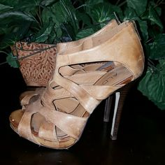Aldo tan leather strappy heels Aldo tan leather strappy heels the leather has been broken in a very high heel 6 inch heel.  I actually absolutely love the look of the leather on these nice and worn the leather looks great worn like this.   PRICED ACCORDINGLY  These are preloved ALDO Shoes Heels