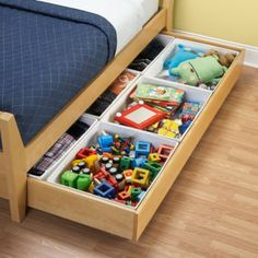 Bins that fit inside trundle bed to organize toys -- great for a small room. // NEED these for L's trundle bed! Kids Closet Storage, Kids Beds With Storage, Kids Storage Bins, Kid Closet, Under Bed Storage, Storage Ideas, Bedroom Storage, Storage Design, Storage Drawers