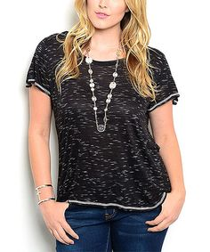 Black & White Crewneck Tee - Plus #zulily #zulilyfinds