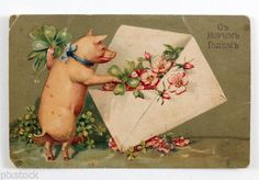 1910s Imperial Russia Happy New Year Russian Postcard Pig with Envelope | eBay