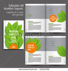 A4 book  Layout Design Template with Cover and 2 spreads of Contents Preview. For design magazines, books, annual reports. ECO style  and green colors.
