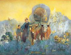 'Not Alone' by Minerva Teichert. This is one of Teichert's most cherished works. In the image we see Mary Fielding Smith with her son Joseph F. Smith crossing the plains with their ox cart. To the right of the image we see the spiritual guardians that protected Mary Fielding Smith on her journey to Zion, hence the title of the painting.