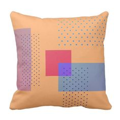 Retro geometric template cover orange throw pillow - artists unique special customize presents