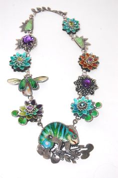 Emerald Chameleon Necklace - hand-crafted by Kristin Holeman in sterling silver, enamel, and using semi-precious stones