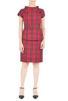 High stand collar cotton check dress