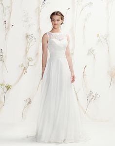 Lillian West Style 6401 - Beaded Sabrina Venice lace neckline, chiffon cummerbund with V-back and sweep train complete this soft, slim A-line gown