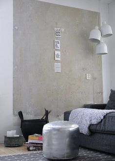 cement walls, silver, white, grouped lights, postcard sized art, textures.