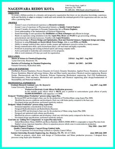 find this pin and more on resume sample template and format - Chemical Process Engineer Sample Resume