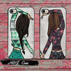 2pcs/lot Cute BFF Best Friends Girly Heart Matching Hard Mobile Phone Cases for iPhone 6 6 plus 5c 5s 5 4 4s Case Cover Couples