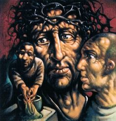 The Stations of the Cross exhibition, Flowers Gallery. A collection of drawings and paintings by the Scottish artist Peter Howson.