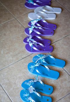 Spa party craft- have all the girls bring a pair of flip flops...and if u want, instead of bringing presents the girls can each bring a roll of ribbon