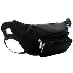 6Zipper Pocket Genuine Soft Leather Fanny Pack Travel Waist Bag Small Size Black