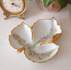 Vintage Hand Painted China Leaf Trinket or Candy  Dish with Pink Roses and Gold Trim - Folk Art Circa 1968  by HouseofLucien
