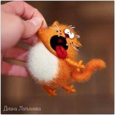 Needle Felted Animals, Felt Animals, Needle Felting Tutorials, Cat Doll, Cat Crafts, Wet Felting, Felt Toys, Felt Art, Felt Ornaments