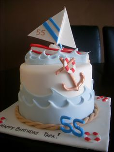 Sailing Themed Cake  Sailing Themed Cake White, red and blue sailing cake!
