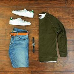 Comfortable Yet Stylish Grid by @chrismehan Follow @stylishgridgame Brands ⤵ Jumper: @americanmadesupplyco T-Shirt @homage Jeans: @dstld Trainers: @adidasoriginals Watch: @hamiltonwatch Belt: @levis
