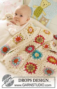 "Colorful crochet DROPS blanket in 2 strands ""Alpaca"". ~ DROPS Design"