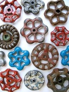 How common objects can become art - #vintage garden water faucet knobs on Etsy