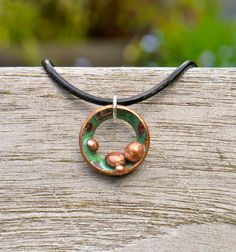 Circle Lichen enamel and copper organic pendant necklace