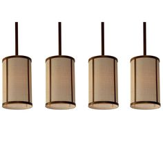 Buy Set of 4 'Cylindre' Brass and Raffia Pendants by Design Frères - Quick Ship designer Pendants from Dering Hall's collection of Contemporary Mid-Century / Modern Transitional Organic Lighting.