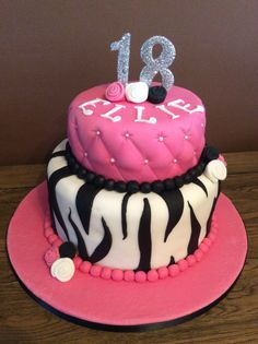 18th two tier birthday cake. Quilted effect top tier and zebra print bottom tier
