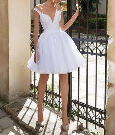 White off the shoulder a-line wedding dresses,short wedding bridal dresses - dress - Vestidos Dama Dresses, Hoco Dresses, Homecoming Dresses, Bridesmaid Dresses, After Wedding Dress, Short Wedding Dresses, Corset Wedding Gowns, 50s Wedding, Civil Wedding
