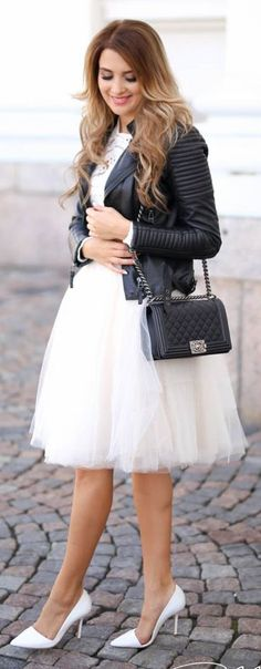 Leather And Tulle Fall Inspo by Mungolife