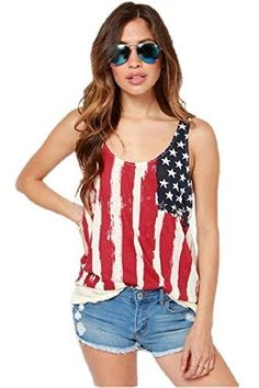 23.99$  Watch now - http://viawy.justgood.pw/vig/item.php?t=40g3yfm2281 - Craze Flag Shirt Tops Tank Top Low-Cut Round Neck Chiffon Top 23.99$
