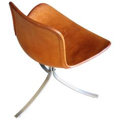 PK 9 Chair in Patinated Natural Saddle Leather by Poul Kjærholm   From a unique collection of antique and modern chairs at https://www.1stdibs.com/furniture/seating/chairs/