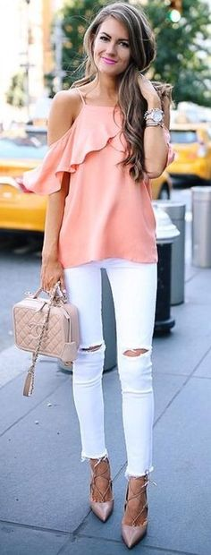 #summer #trending #outfits   Coral Cold Shoulder Top + White Jeans